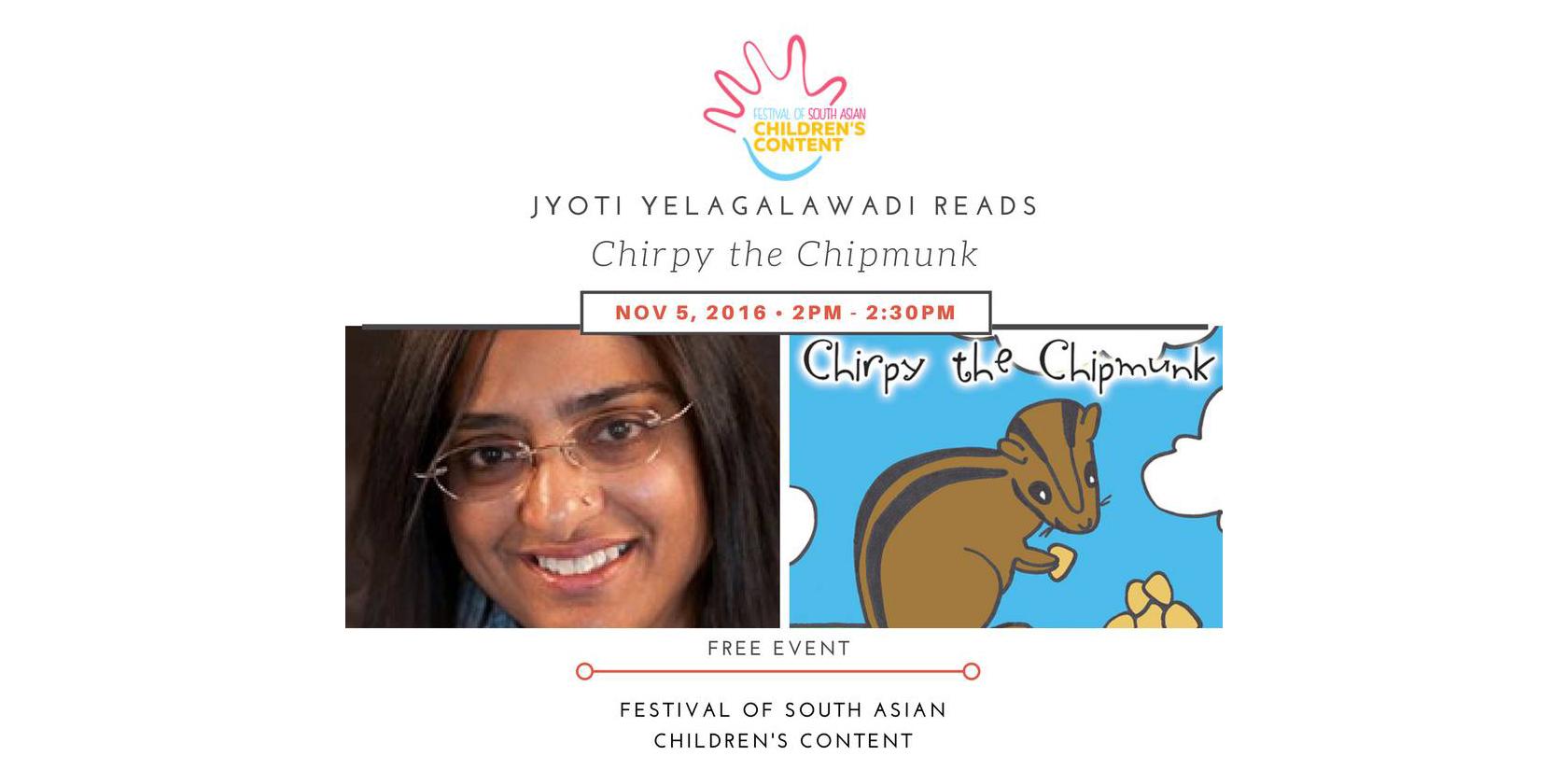 Jyoti Yelagalawadi reads from her chilren's book, Chirpy the Chipmunk